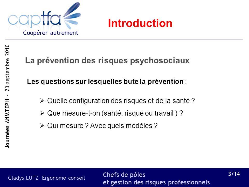 Introduction La prévention des risques psychosociaux