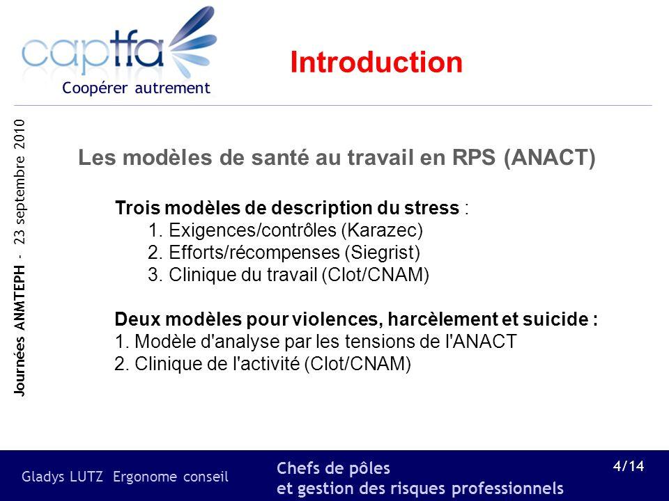 Introduction Les modèles de santé au travail en RPS (ANACT)