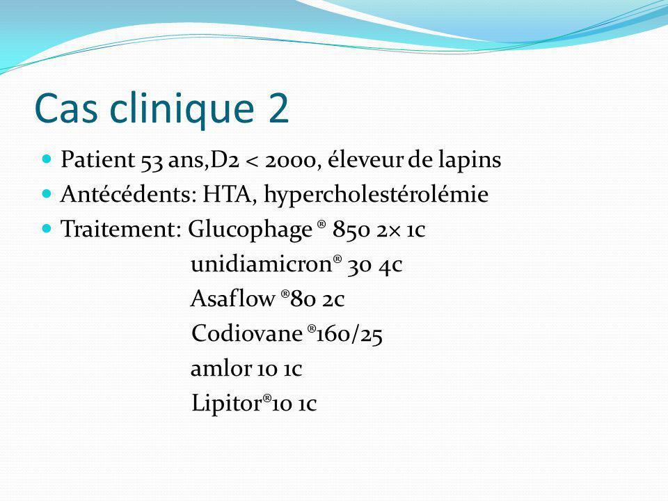 Cas clinique 2 Patient 53 ans,D2 < 2000, éleveur de lapins
