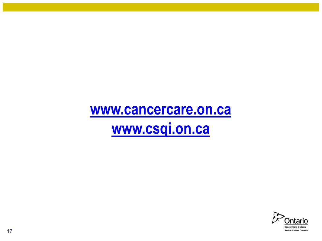 www.cancercare.on.ca www.csqi.on.ca