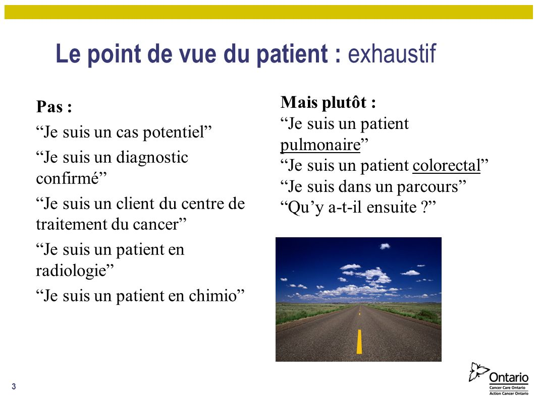 Le point de vue du patient : exhaustif