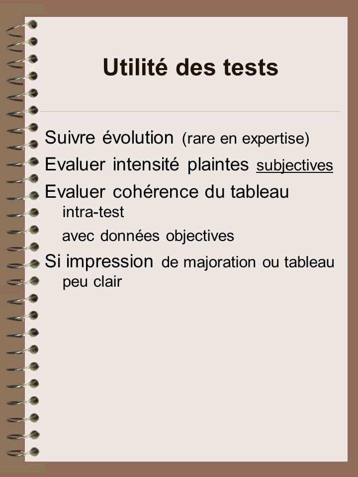 Utilité des tests Suivre évolution (rare en expertise)