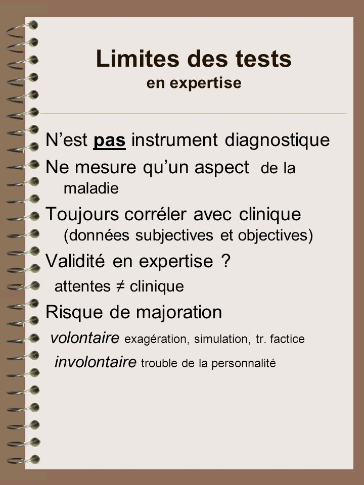 Limites des tests en expertise