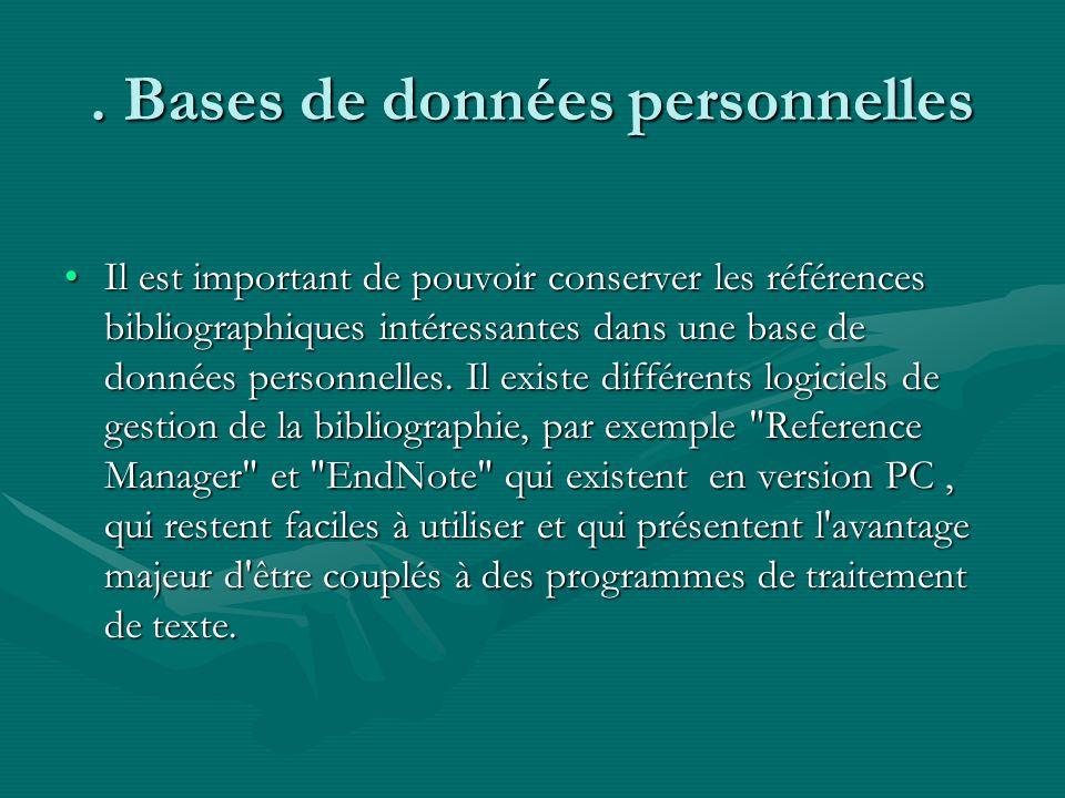 . Bases de données personnelles