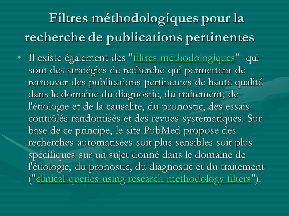 Filtres méthodologiques pour la recherche de publications pertinentes