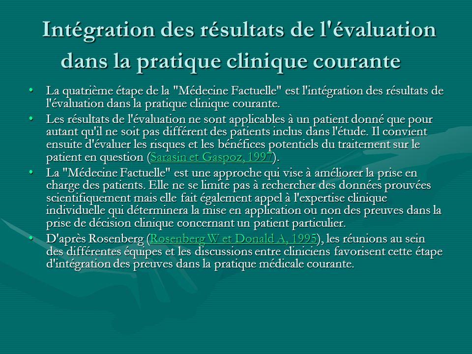 Intégration des résultats de l évaluation dans la pratique clinique courante