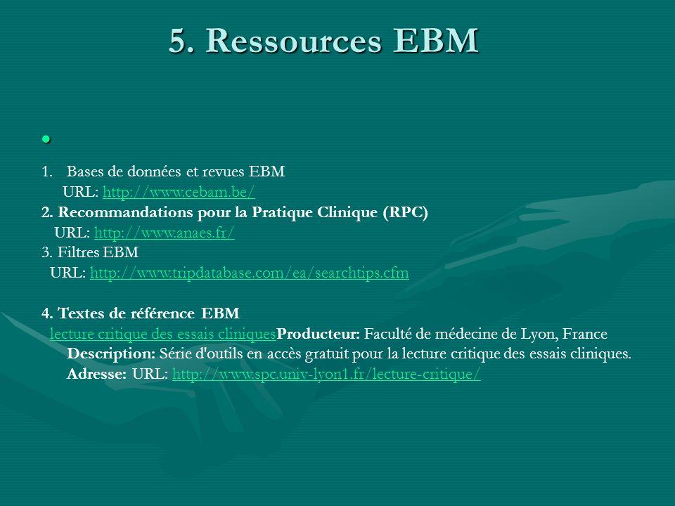 5. Ressources EBM Bases de données et revues EBM