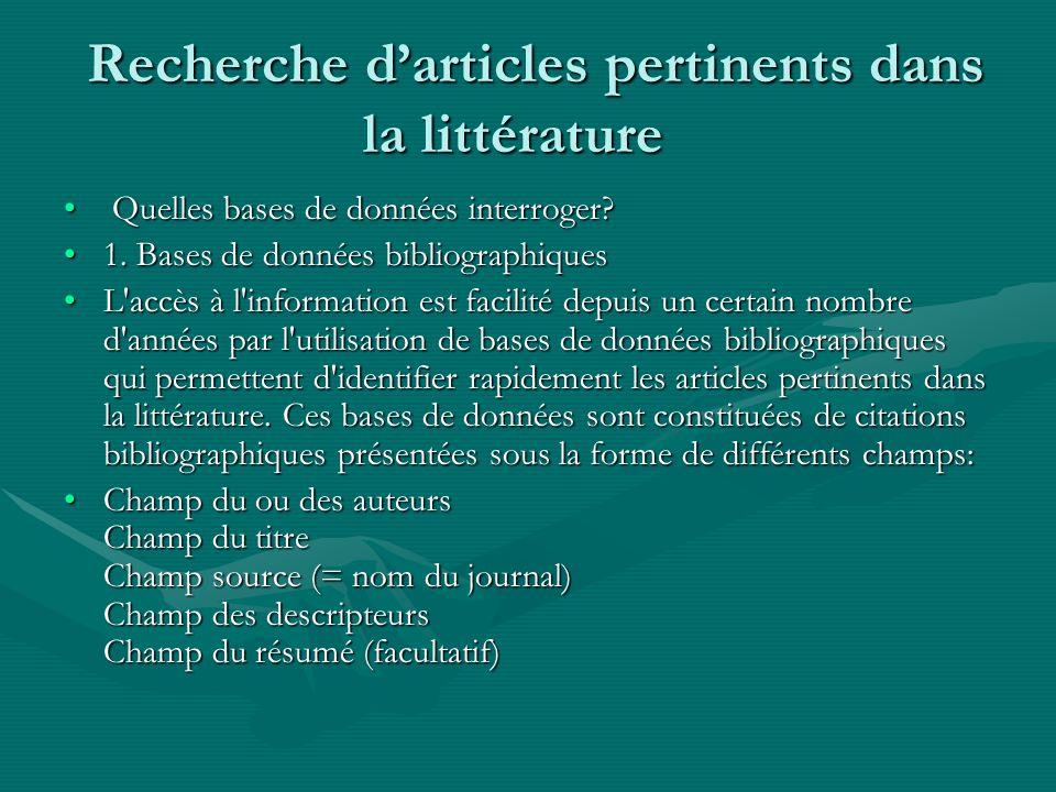 Recherche d'articles pertinents dans la littérature