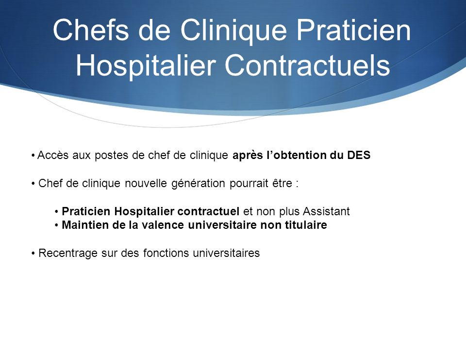 Chefs de Clinique Praticien Hospitalier Contractuels