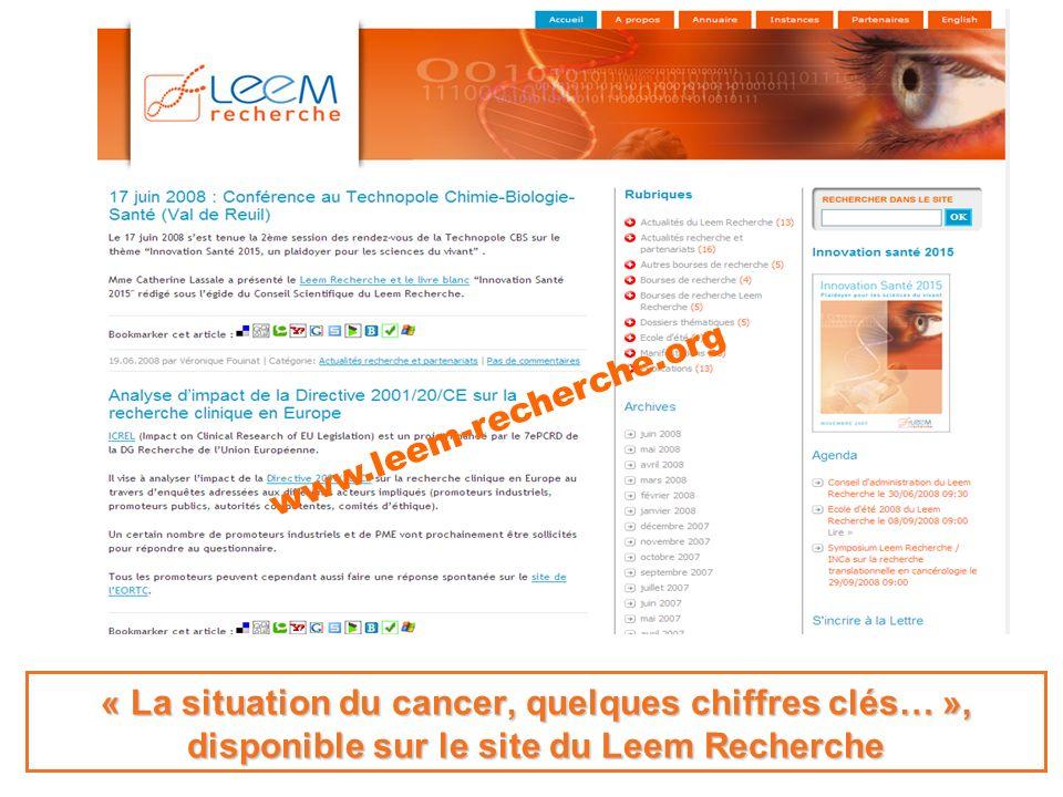 www.leem-recherche.org « La situation du cancer, quelques chiffres clés… », disponible sur le site du Leem Recherche.