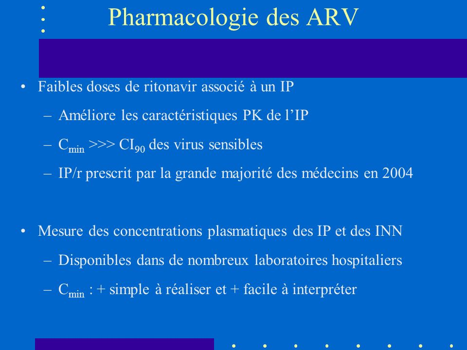 Pharmacologie des ARV Faibles doses de ritonavir associé à un IP