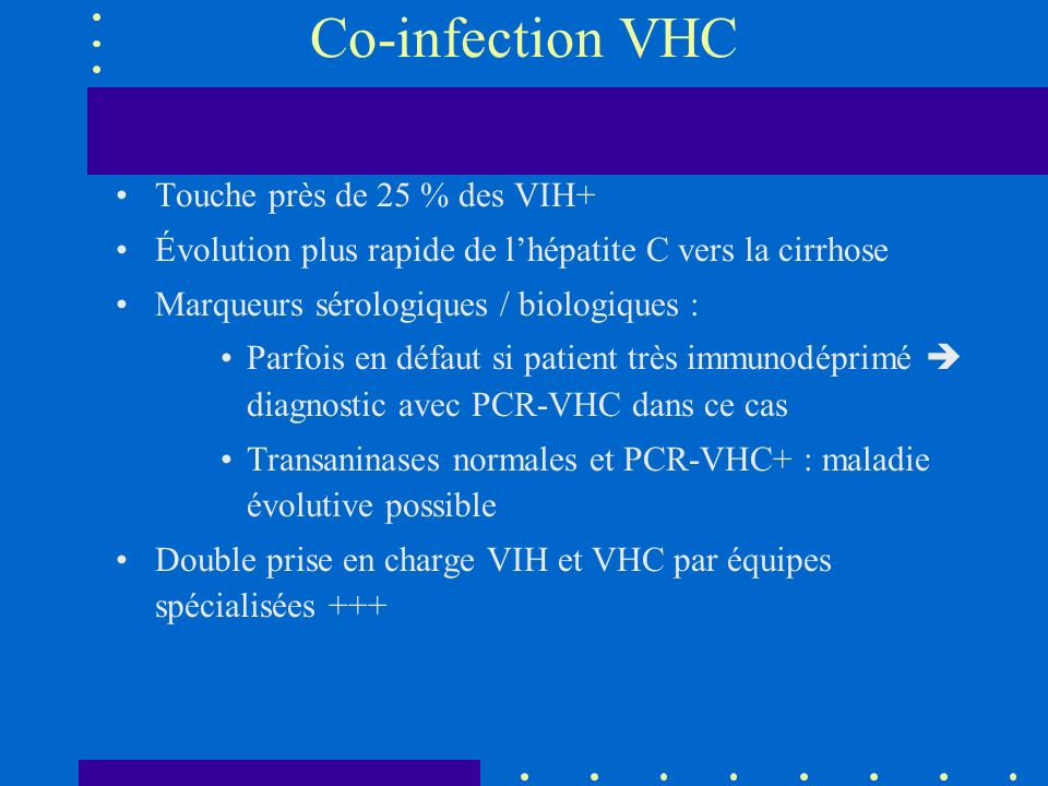 Co-infection VHC Touche près de 25 % des VIH+