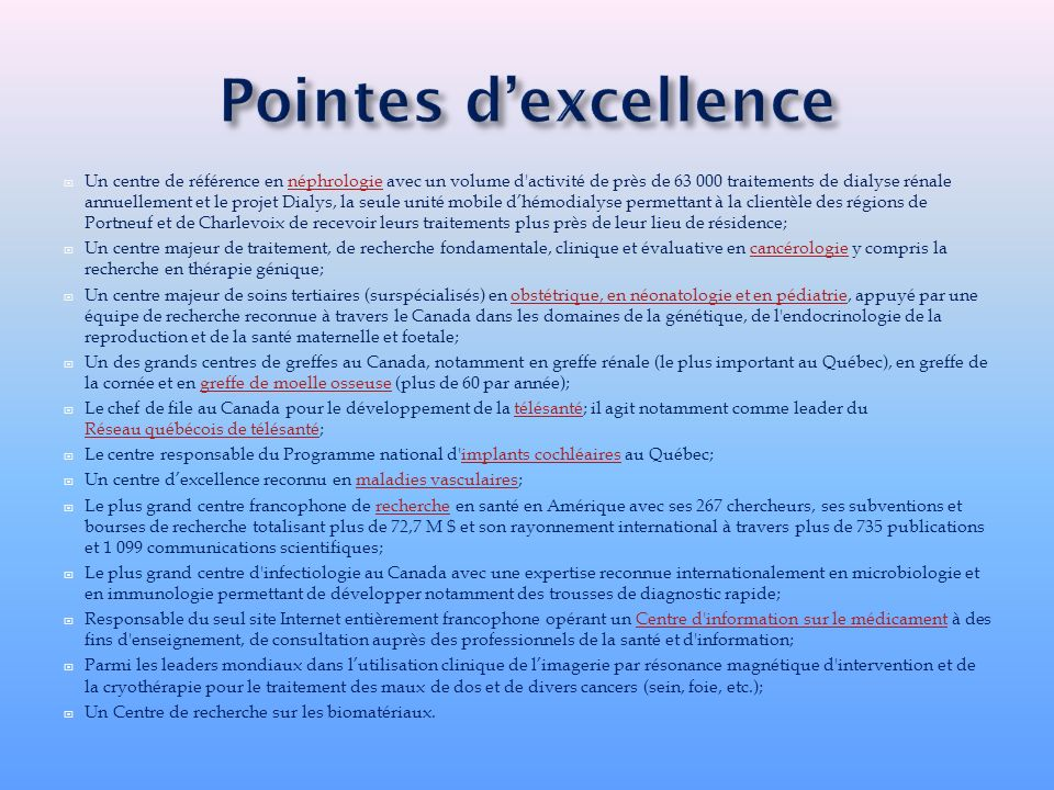 Pointes d'excellence