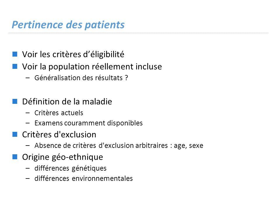 Pertinence des patients
