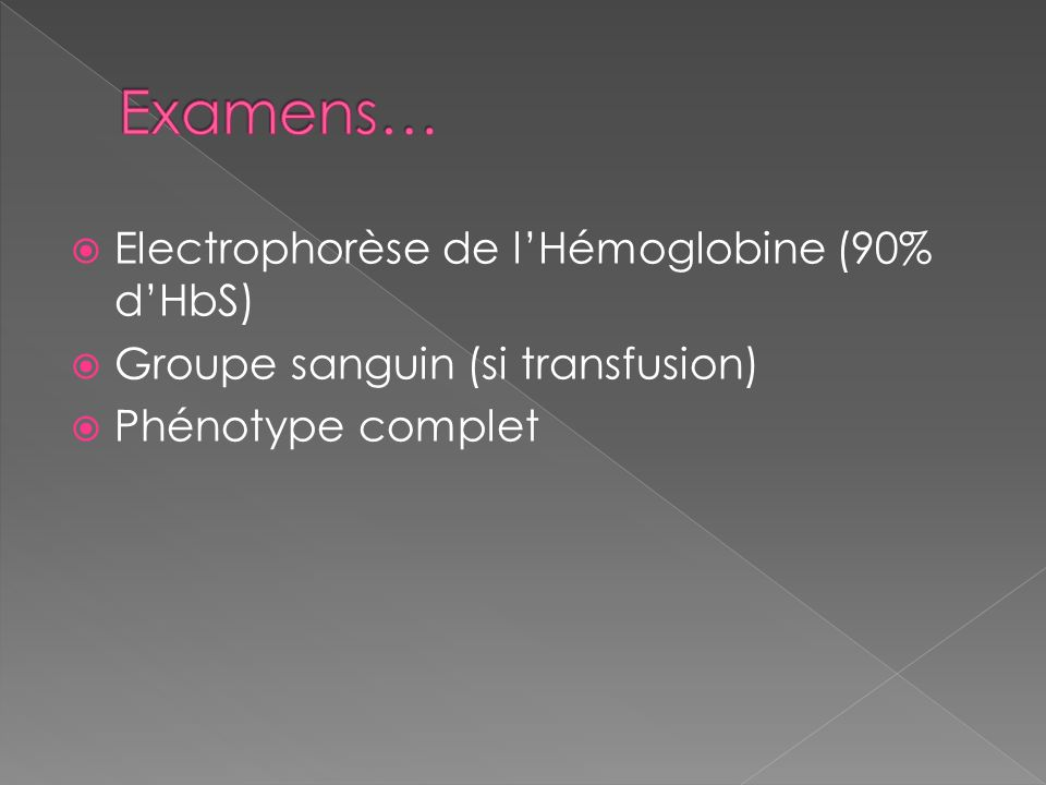 Examens… Electrophorèse de l'Hémoglobine (90% d'HbS)