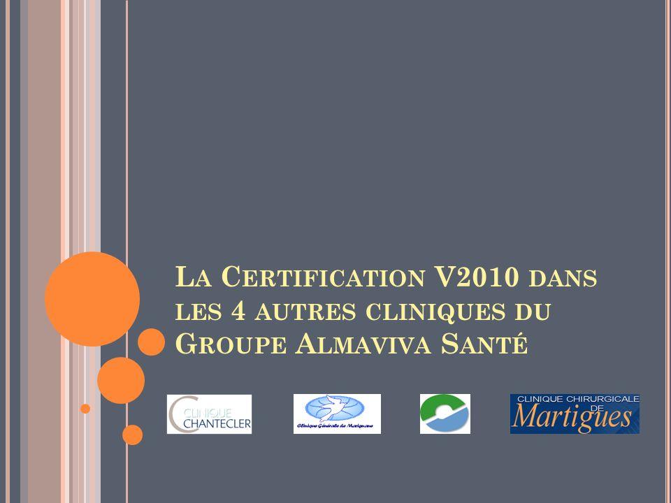 La Certification V2010 dans les 4 autres cliniques du Groupe Almaviva Santé