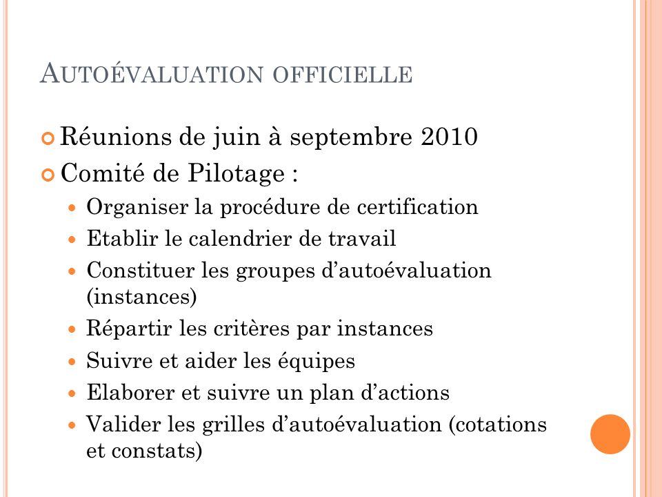 Autoévaluation officielle