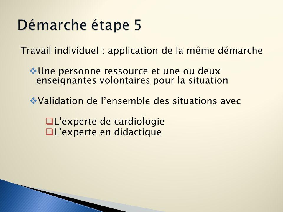Démarche étape 5 Travail individuel : application de la même démarche