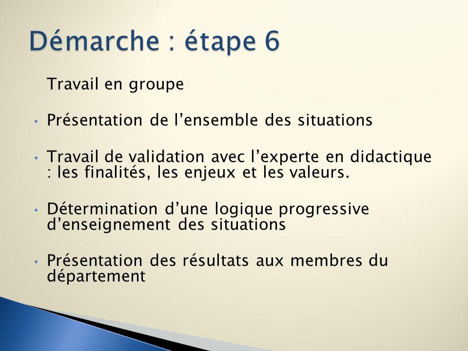 Démarche : étape 6 Travail en groupe