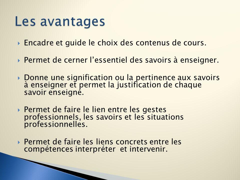 Les avantages Encadre et guide le choix des contenus de cours.