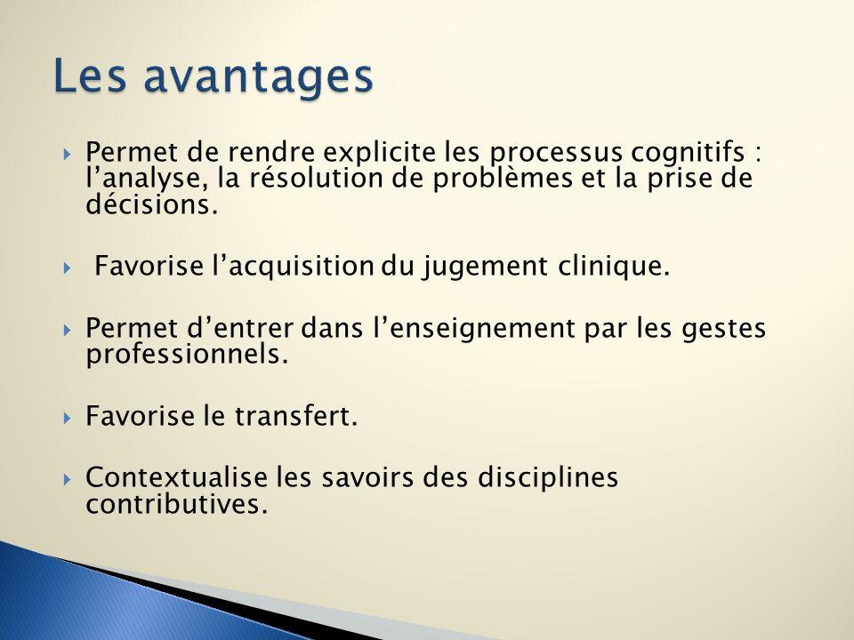 Les avantages Permet de rendre explicite les processus cognitifs : l'analyse, la résolution de problèmes et la prise de décisions.