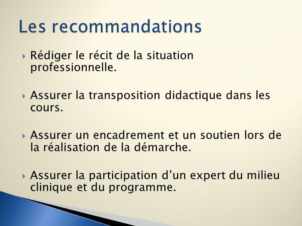 Les recommandations Rédiger le récit de la situation professionnelle.