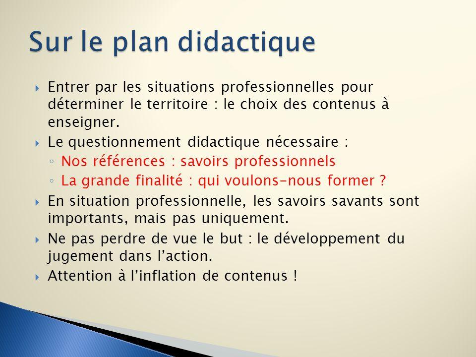 Sur le plan didactique Entrer par les situations professionnelles pour déterminer le territoire : le choix des contenus à enseigner.