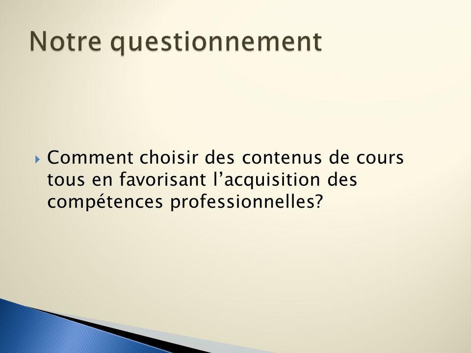 Notre questionnement Comment choisir des contenus de cours tous en favorisant l'acquisition des compétences professionnelles