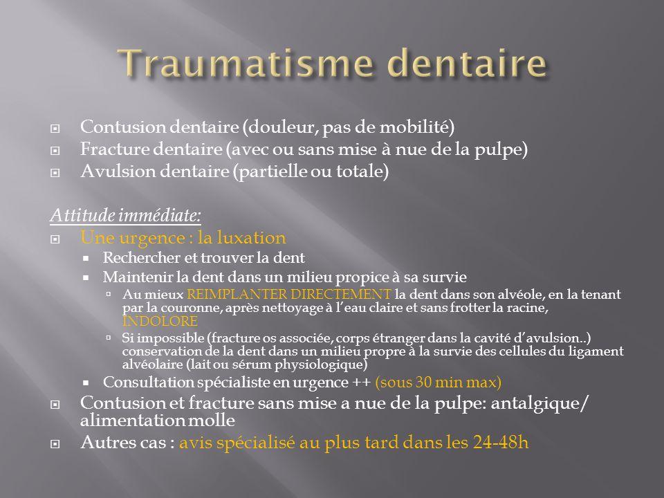 Traumatisme dentaire Contusion dentaire (douleur, pas de mobilité)
