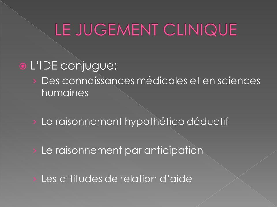 LE JUGEMENT CLINIQUE L'IDE conjugue: