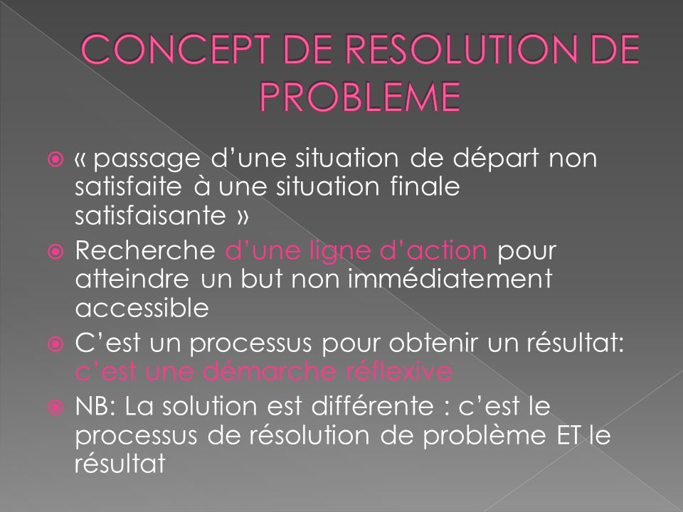CONCEPT DE RESOLUTION DE PROBLEME