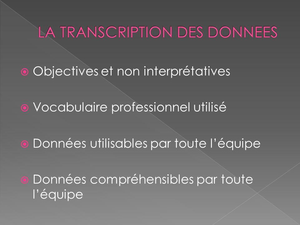 LA TRANSCRIPTION DES DONNEES