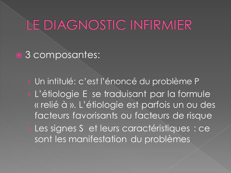 LE DIAGNOSTIC INFIRMIER