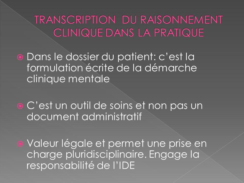 TRANSCRIPTION DU RAISONNEMENT CLINIQUE DANS LA PRATIQUE