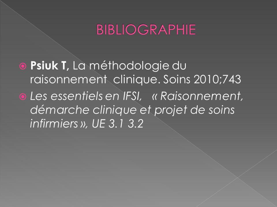 BIBLIOGRAPHIE Psiuk T, La méthodologie du raisonnement clinique. Soins 2010;743.