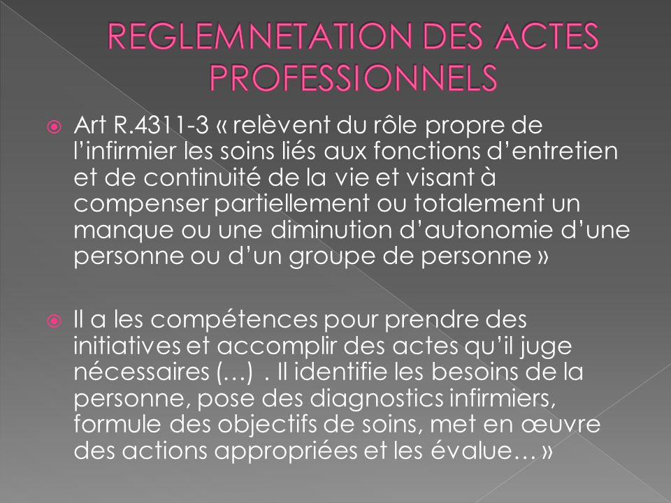 REGLEMNETATION DES ACTES PROFESSIONNELS