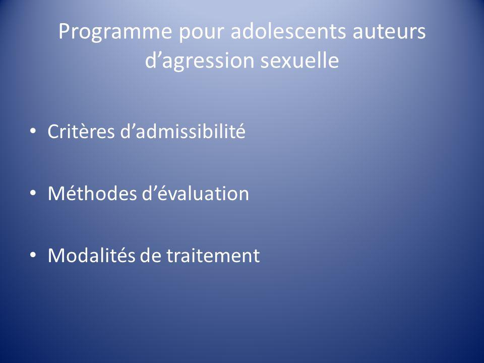 Programme pour adolescents auteurs d'agression sexuelle