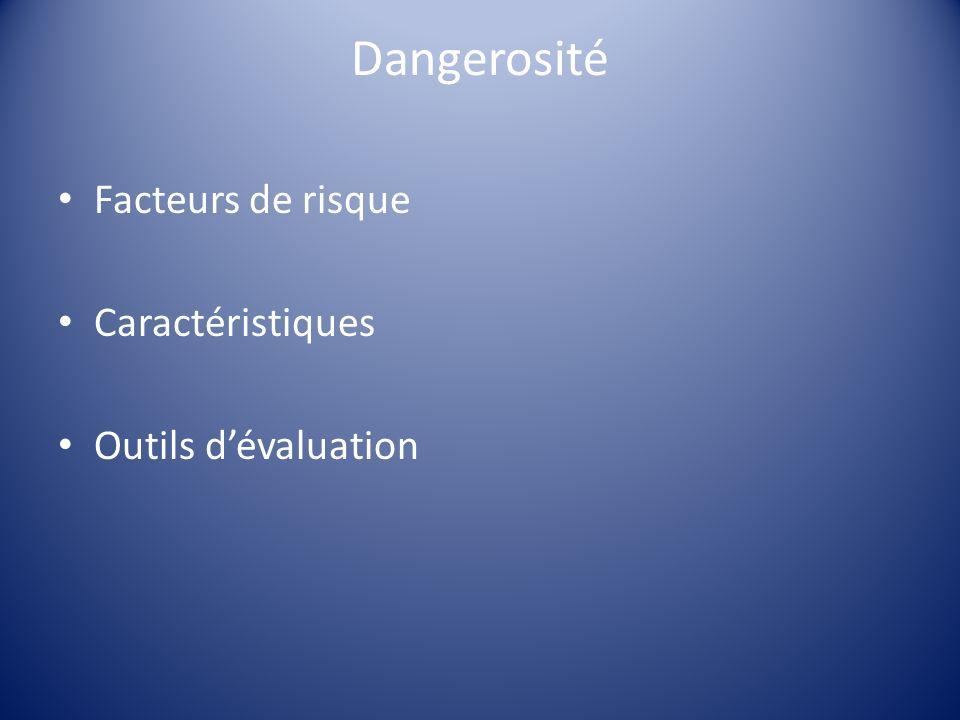 Dangerosité Facteurs de risque Caractéristiques Outils d'évaluation