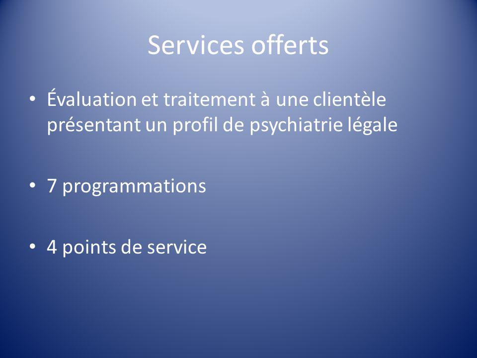 Services offerts Évaluation et traitement à une clientèle présentant un profil de psychiatrie légale.