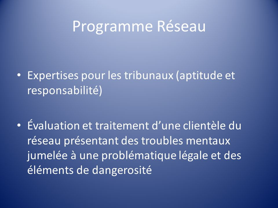 Programme Réseau Expertises pour les tribunaux (aptitude et responsabilité)