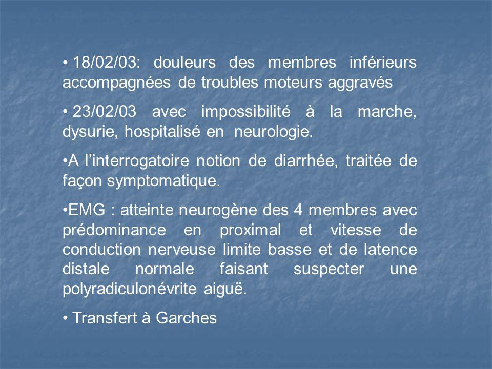 18/02/03: douleurs des membres inférieurs accompagnées de troubles moteurs aggravés