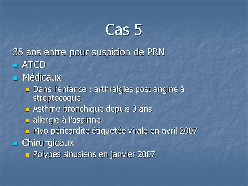 Cas 5 38 ans entre pour suspicion de PRN ATCD Médicaux Chirurgicaux