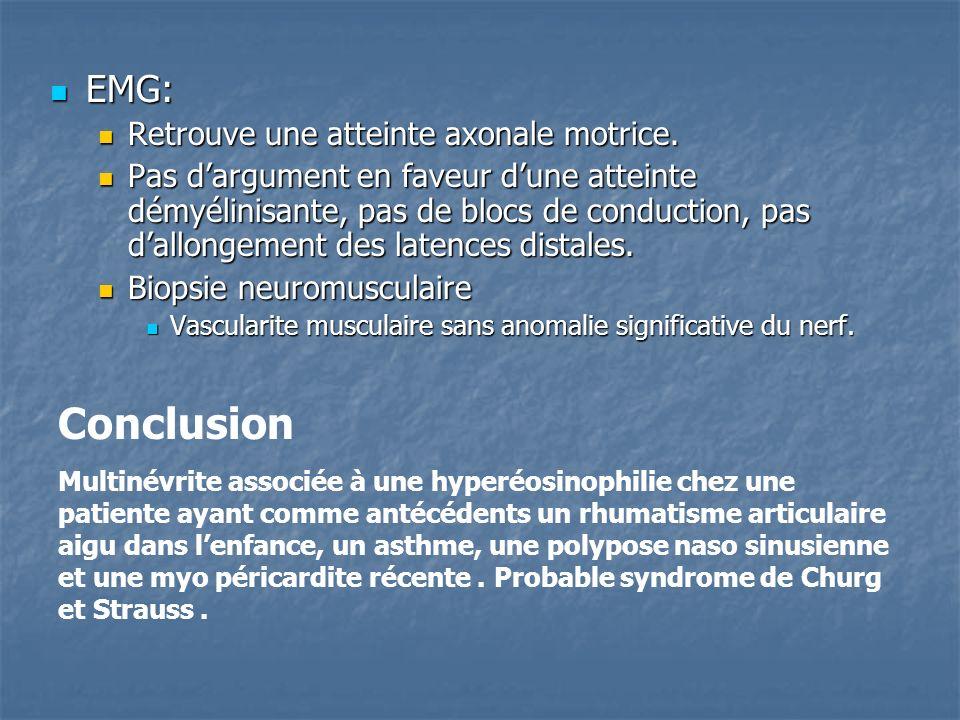 Conclusion EMG: Retrouve une atteinte axonale motrice.