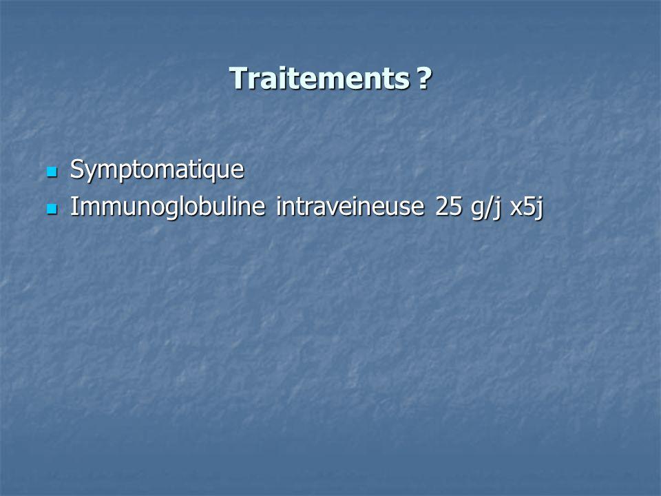 Traitements Symptomatique Immunoglobuline intraveineuse 25 g/j x5j