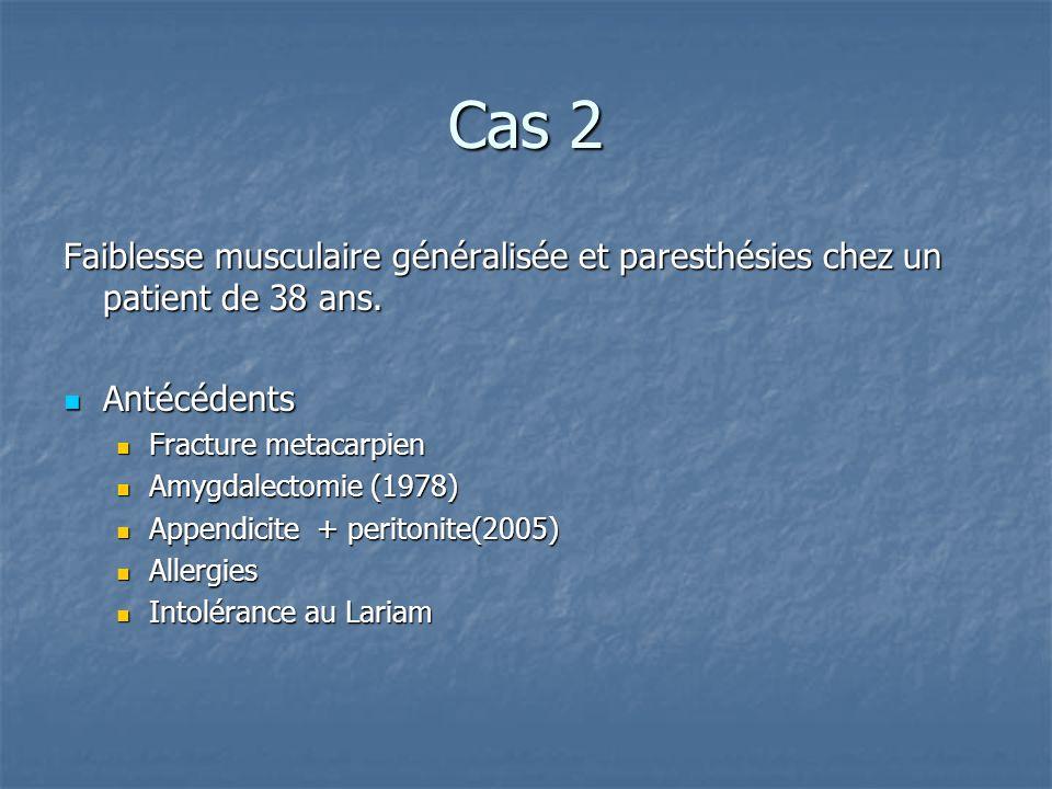 Cas 2 Faiblesse musculaire généralisée et paresthésies chez un patient de 38 ans. Antécédents. Fracture metacarpien.
