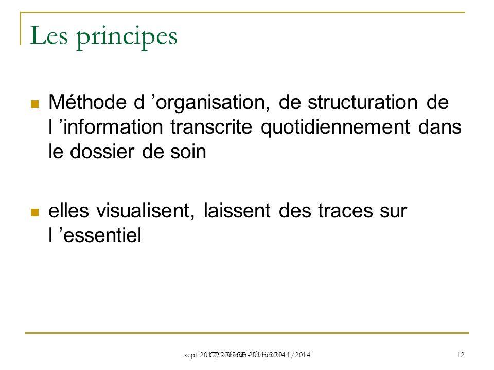 Les principes Méthode d 'organisation, de structuration de l 'information transcrite quotidiennement dans le dossier de soin.