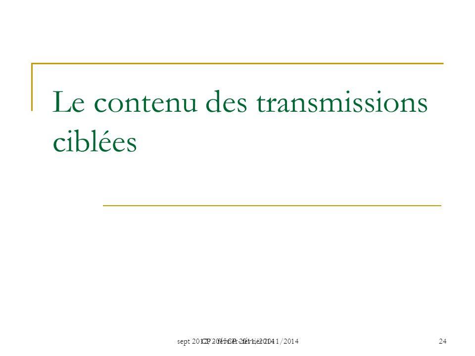 Le contenu des transmissions ciblées