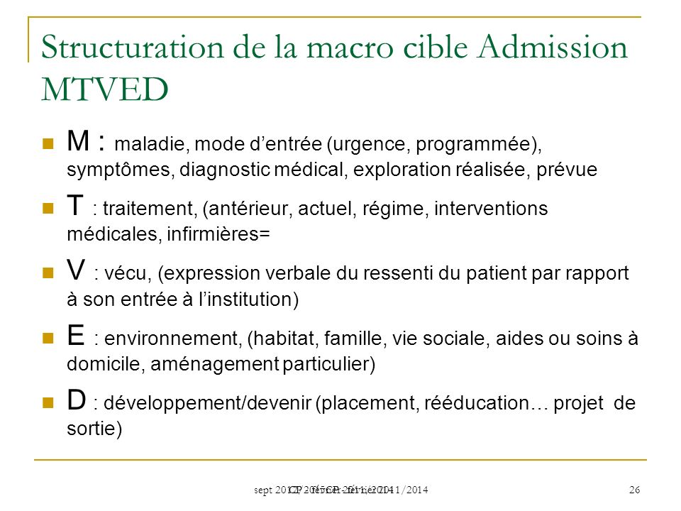 Structuration de la macro cible Admission MTVED