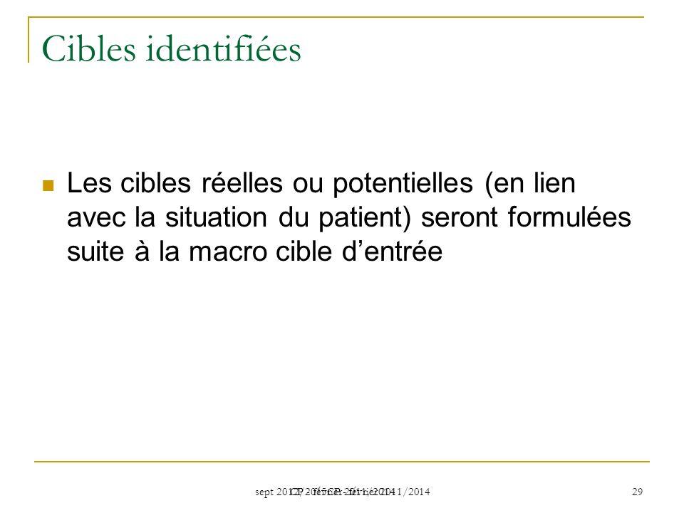 Cibles identifiées Les cibles réelles ou potentielles (en lien avec la situation du patient) seront formulées suite à la macro cible d'entrée.