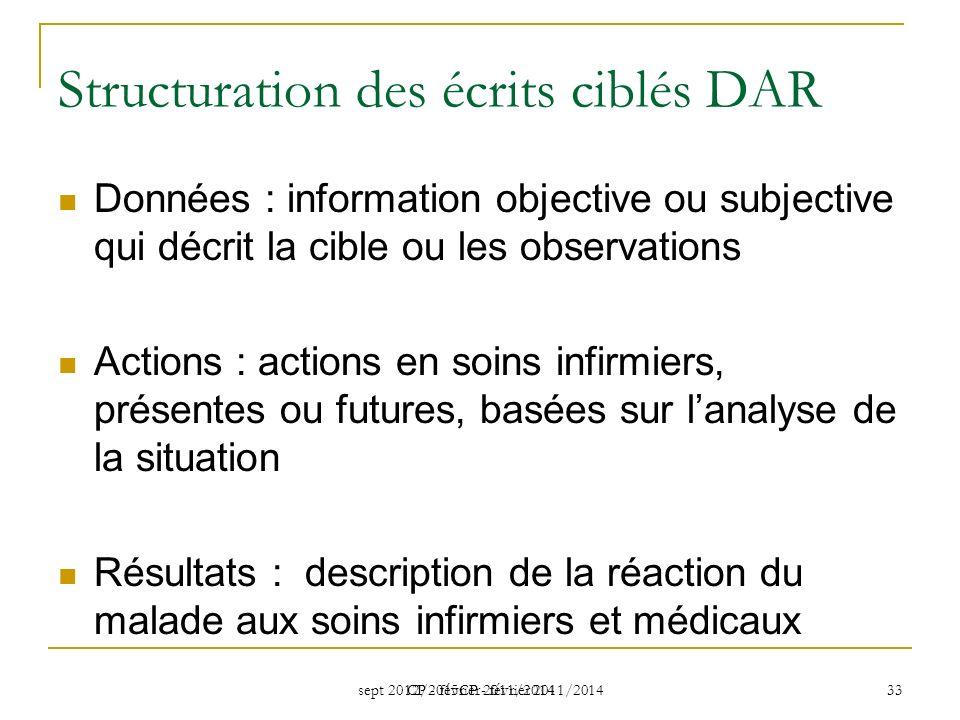 Structuration des écrits ciblés DAR